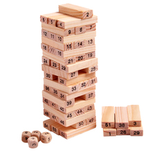 Wooden Tower Wood Building Blocks Toy Domino 54pcs Stacker Extract Building Educational Jenga Game Gift 4pcs Dice(China (Mainland))