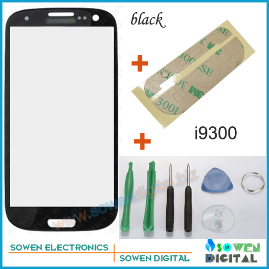 Outer LCD Screen Lens Top Glass for Samsung Galaxy S3 S 3 i9300 with Open tools Black Color ,Free Shipping