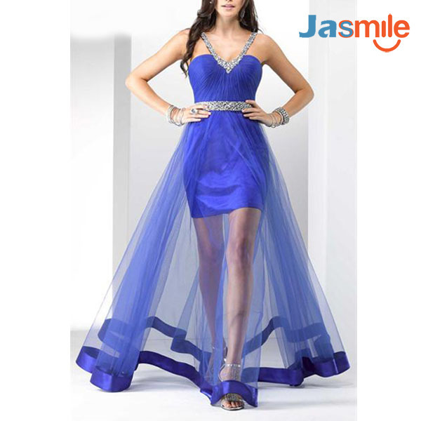 2015 Free Shipping Amazing Prom Dress Hand Beading Evening Gown Pleat Organza V-neck Homecoming dresses JA120471