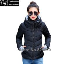 New Wadded Winter Jacket Women Cotton Short Jacket Fashion 2016 Girls Padded Slim Plus Size Hooded Parkas Stand Collar Coat(China (Mainland))