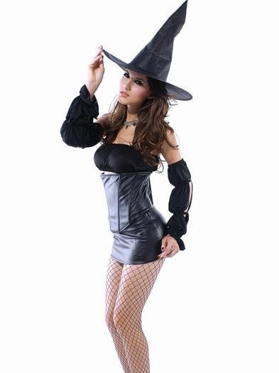 Free shipping sexy Halloween Costumes lingerie adult party dress holiday demon black pvc leather Seductive Witch Costume LC8484