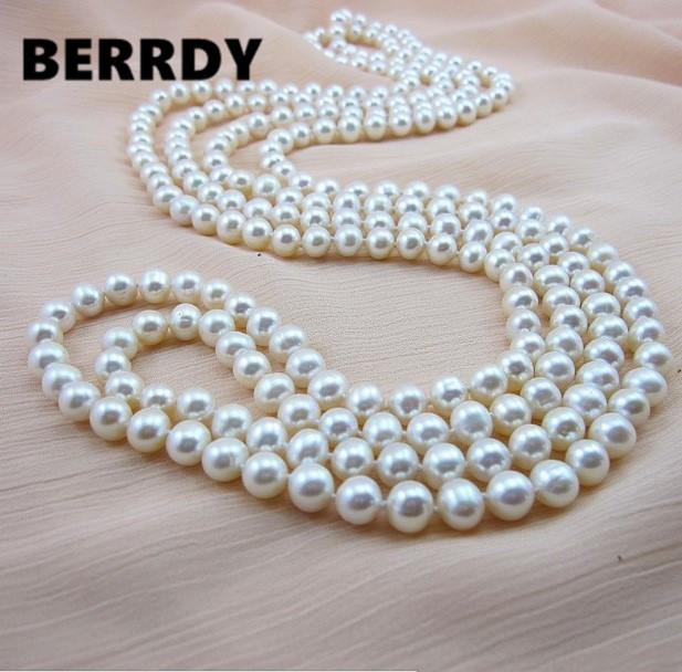 REAL PEARL 9mm Pearl Size 100% Genuine Real Freshwater Cultured Long Pearl Necklace Fashion for Nice Lady Female Gift Hot Sale(China (Mainland))