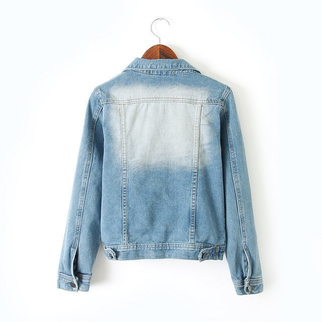 Wheat product library A376 summer new European positioning double collar shirt pocket solid color long sleeve denim jacket(China (Mainland))