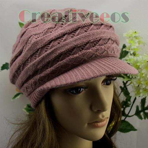 Fashion Women's Chic Brim Visor Beanie Winter Cap Snow Soft Warm Wool Knit Hat 4 Color Angora New(China (Mainland))