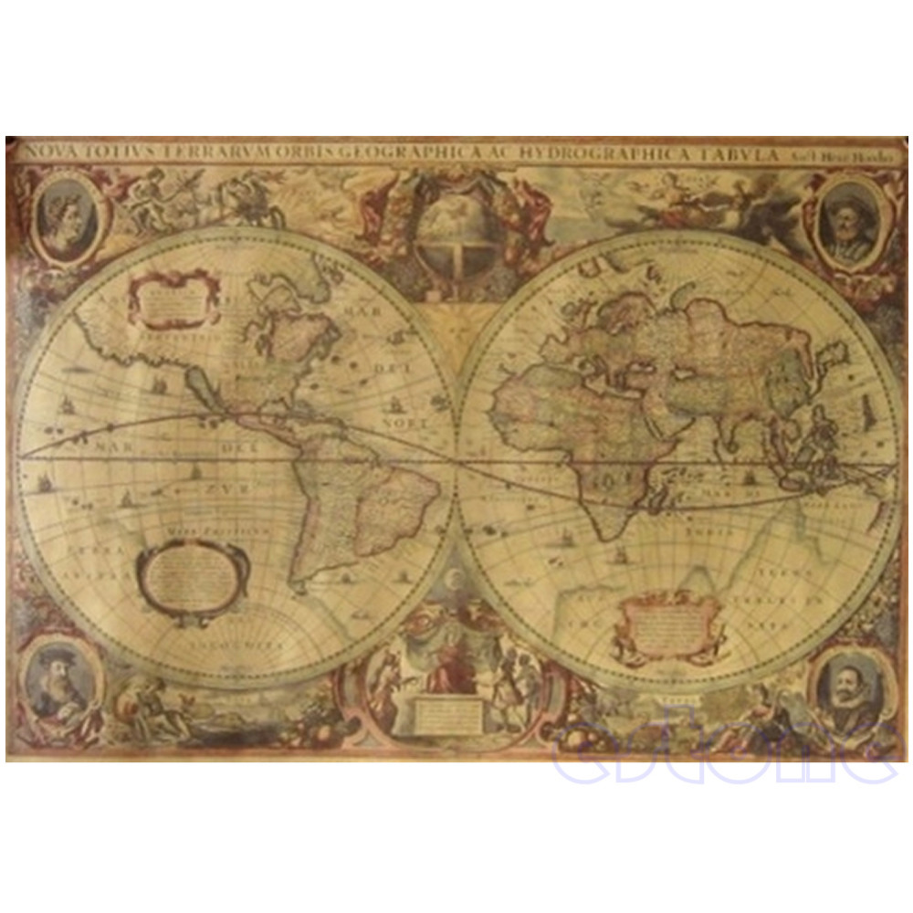 71x50cm Vintage Globe Old World Map Matte Brown Paper Poster Home Wall Decor #1(China (Mainland))