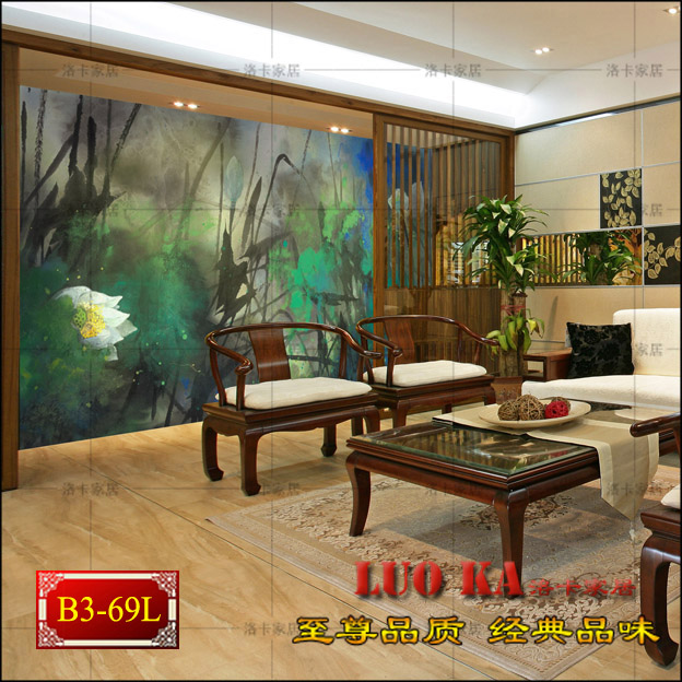 Large murals | living room TV sofa backdrop wallpaper modern abstract ink lotus wallpaper wall covering<br><br>Aliexpress