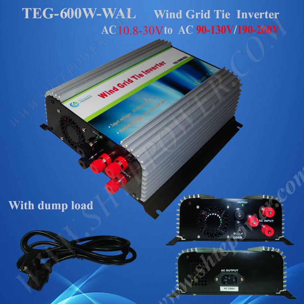 3-phase Inverter 600W Wind Turbine On Grid With Dump Load AC 12V 24V to AC 90V-130V/190V-260V(China (Mainland))