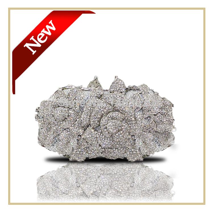 Luxury 100% Handmade Crystal Clutch Bag Evening Bag with Long Chain Women Fashion Party Dressing Bag Silver Wedding Purse(China (Mainland))