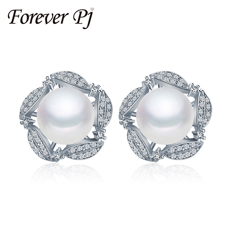 Forever Fashion Jewelry Natural Freshwater Pearl Stud Earrings Pearls and Silver Double Ball Pearl Earrings, Women's Earrings(China (Mainland))