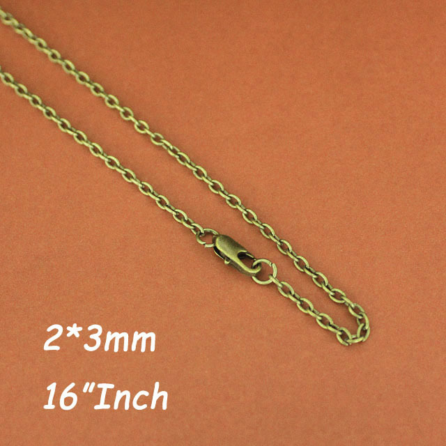 2mm Cable Chains Necklace 16 inch Antique Bronze Plated With Square Clasps DIY Findings For Jewelry Pendants DIY Accesories(China (Mainland))