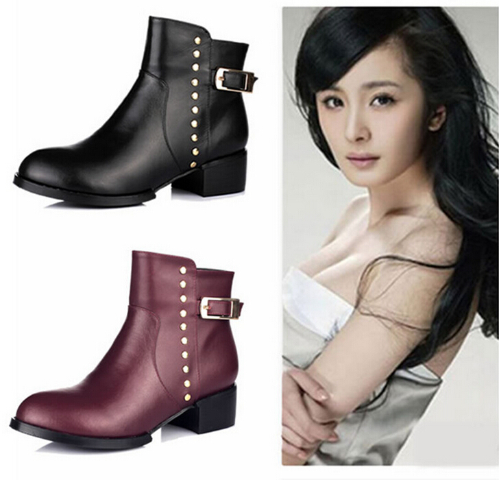 2014 new fashion female artificial fur high heels women motorcycle boots womens autumn winter warm shoes ankle boots 2 styles<br><br>Aliexpress