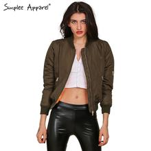 Simplee Apparel Winter parkas cool basic bomber jacket Women Army Green down jacket coat Padded zipper chaquetas biker outwear(China (Mainland))