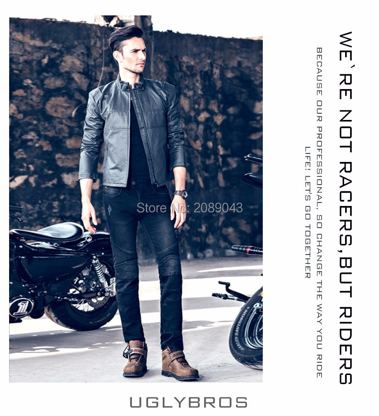 uglyBROS Featherbed black jeans The standard version car ride jeans trousers Motorcycle jeans Drop the jeans