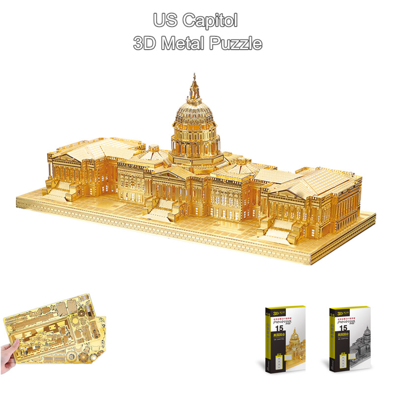 """PieceCool Gold & Silver 3D Metal Nano Puzzle DIY Assemble Metal Building Model """"US Capitol"""" 3D Jigsaw Souptoys Gifts(China (Mainland))"""