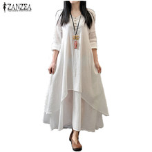 Zanzea Spring Autumn 2016 Fashion Women Casual Loose Long Sleeve V-Neck Dress Boho Solid Long Maxi Dress Vestidos Plus Size 5XL(China (Mainland))