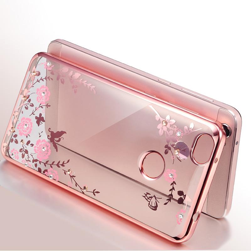 Coque Xiaomi Redmi 4X Case Silicone Bling Diamond Clear Cover Soft TPU Flower Flora Phone Cases Xiaomi Redmi 4X 5.0 Case