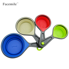Collapsible Silicone Measuring Cups Measure Dry Liquid Ingredients Kitchen Baking Accessories Tools Measuring Spoons 52042
