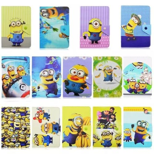 Flip Folio Stand 2015 3D Despicable Me 2 Minions PU Leather Cover Laptop Case+Screen Protector For Samsung Galaxy Tab 4 8.0(China (Mainland))