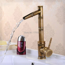 Free shipping Cold and Hot Antique Brass Kitchen Sink Vanity Faucet Swivel Mixer Tap Faucet cozinha Bamboo Faucet HJ-6661F water