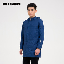 MISUN 2016 spring jacket men's sports brief straight o-neck zipper with a hood thin casual trench medium-long men's windbreaker(China (Mainland))