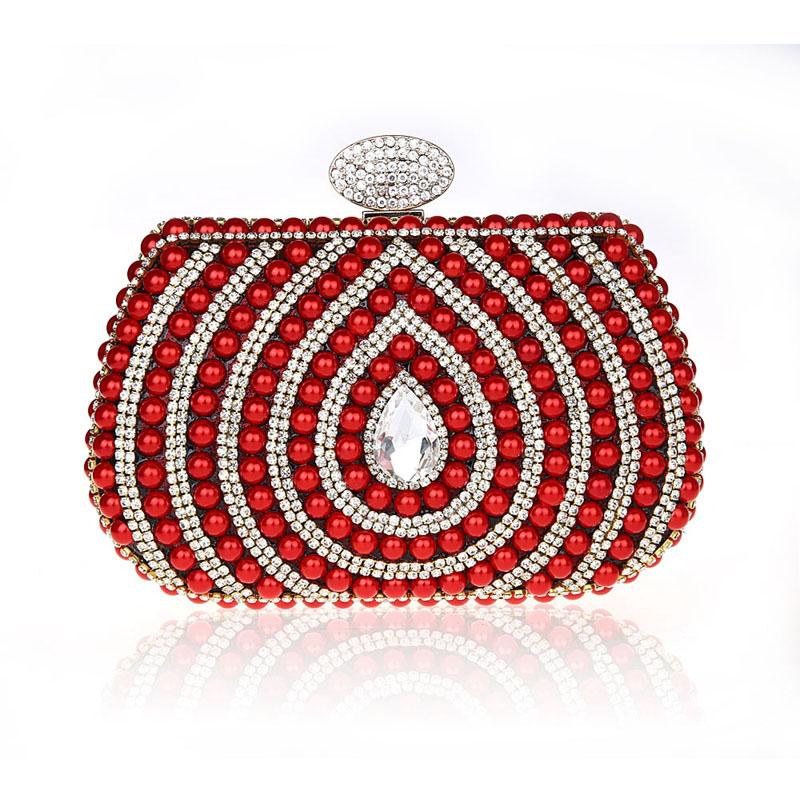 Women Evening Bags Clutch Bag Ladies Wedding Bridal Handbag Pearl Beaded Diamond Day Cluthes Crystal Party Wedding Purse 119t