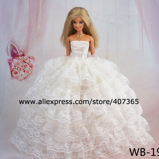 White Wedding Dress + bag + shoes For Barbie Doll