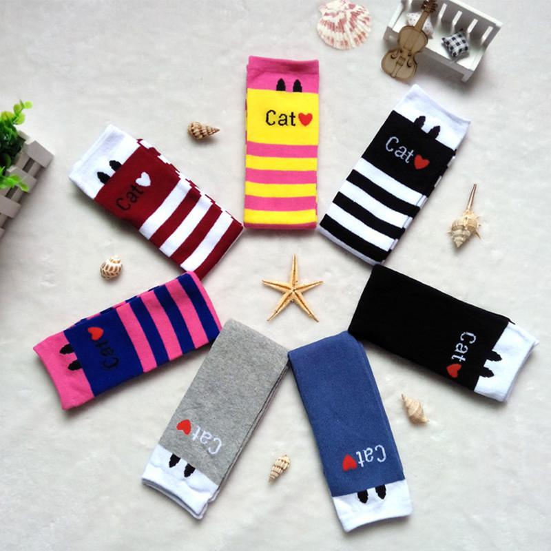 2016 New cute cartoon cat fashion design baby boy girl kids knee high socks for boys girls child cooton sock(China (Mainland))