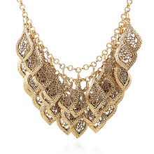 2014 New Fashion Star Jewelry Old Gold Color Multilayer Hollow Leaves Carved Electroplated Alloy Vintage Women Necklace