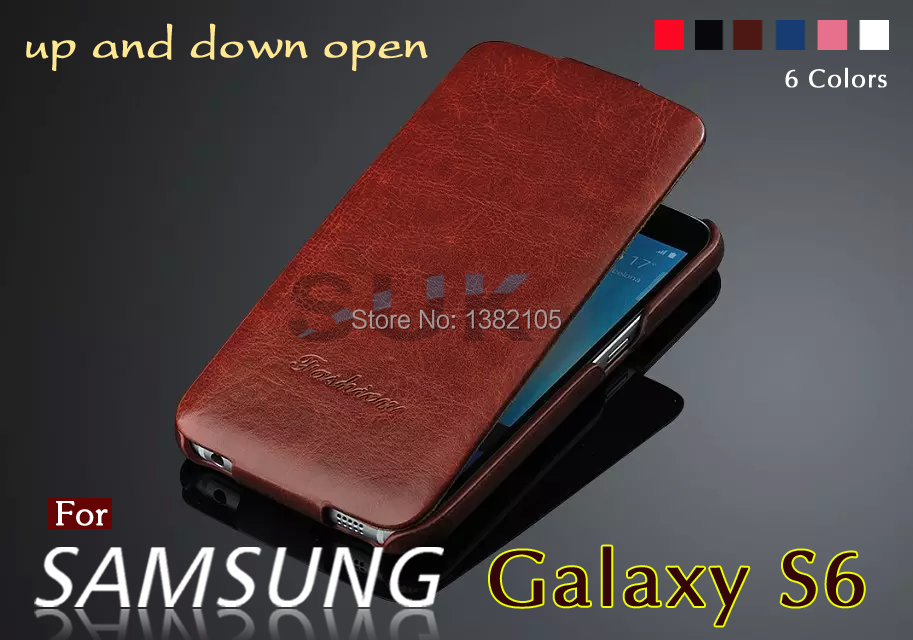 Up and down open leather cover For Samsung Galaxy S6 G9200 Case Fashion Crazy Horse leather protective sleeve mobile phone shell(China (Mainland))