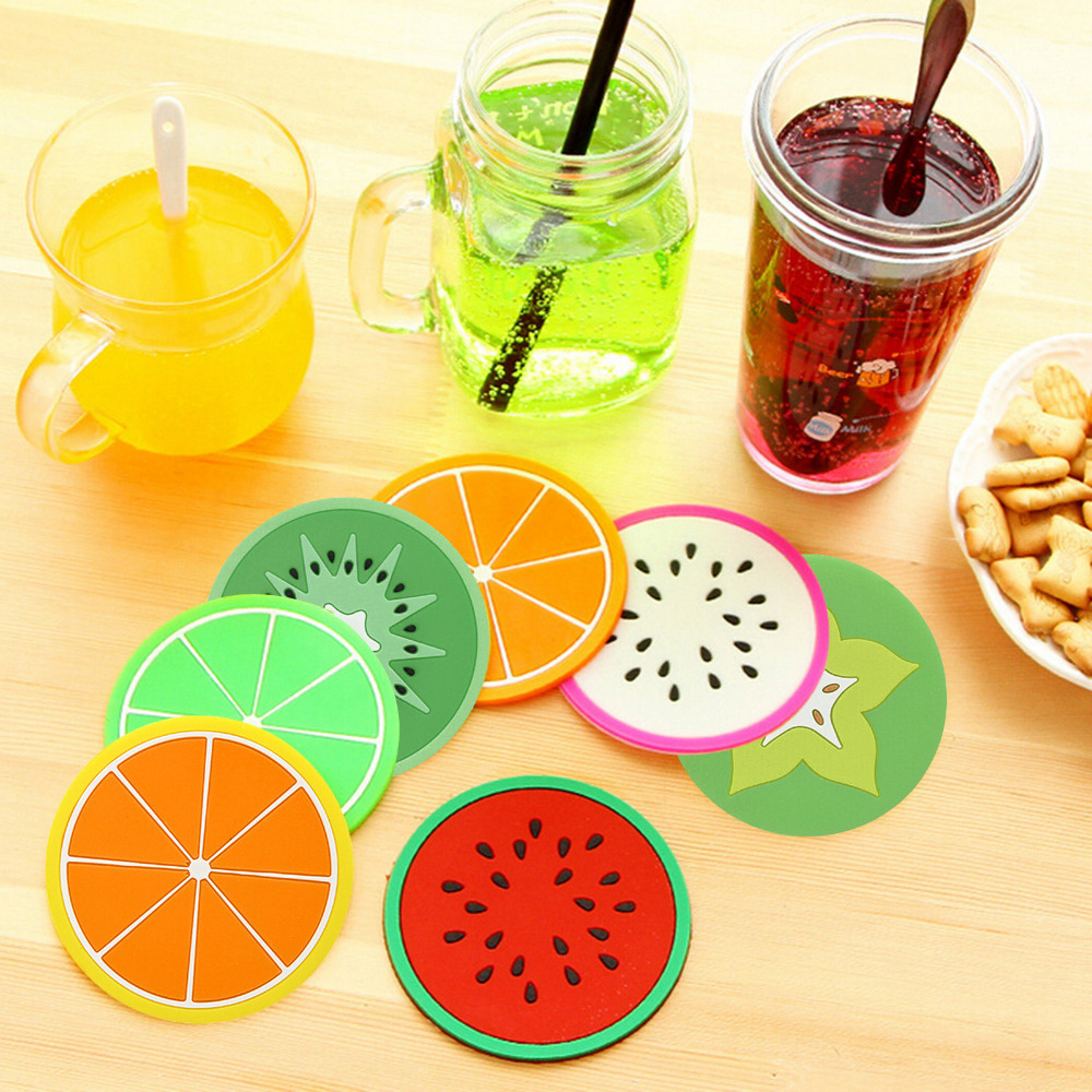 1 Pcs Fruit Cup Mats Novelty Jelly Color Super Cute Coasters Creative Skid Insulation Silicone Bottle Coffee Cup Mat Pad Cushion(China (Mainland))