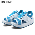 LIN KING New Arrival Breathable Mesh Sandals Lace Up Wedge Heels Women Summer Beach Shoes PU