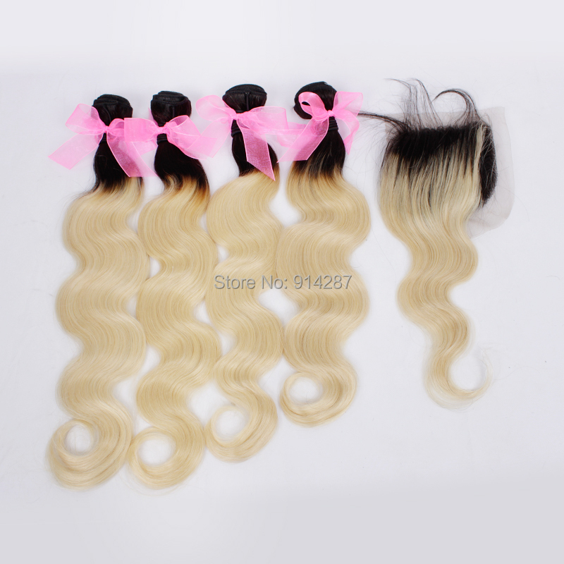 Ombre brazilian body wave lace closure 5 bundles with closure free shipping (20 22 24 26 26 closure 18)  two tone color 1B/613<br><br>Aliexpress
