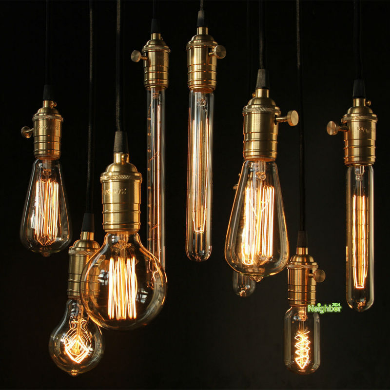Edison tungsten filament vintage antique E27 Light Bulbs Reproduction DIY Fixtures lamp Holder 220V/110V For Pendant Lamps(China (Mainland))