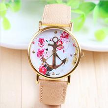 Hot sale Women s Fashion Leather Floral Printed Anchor Quartz Dress Wrist Watch