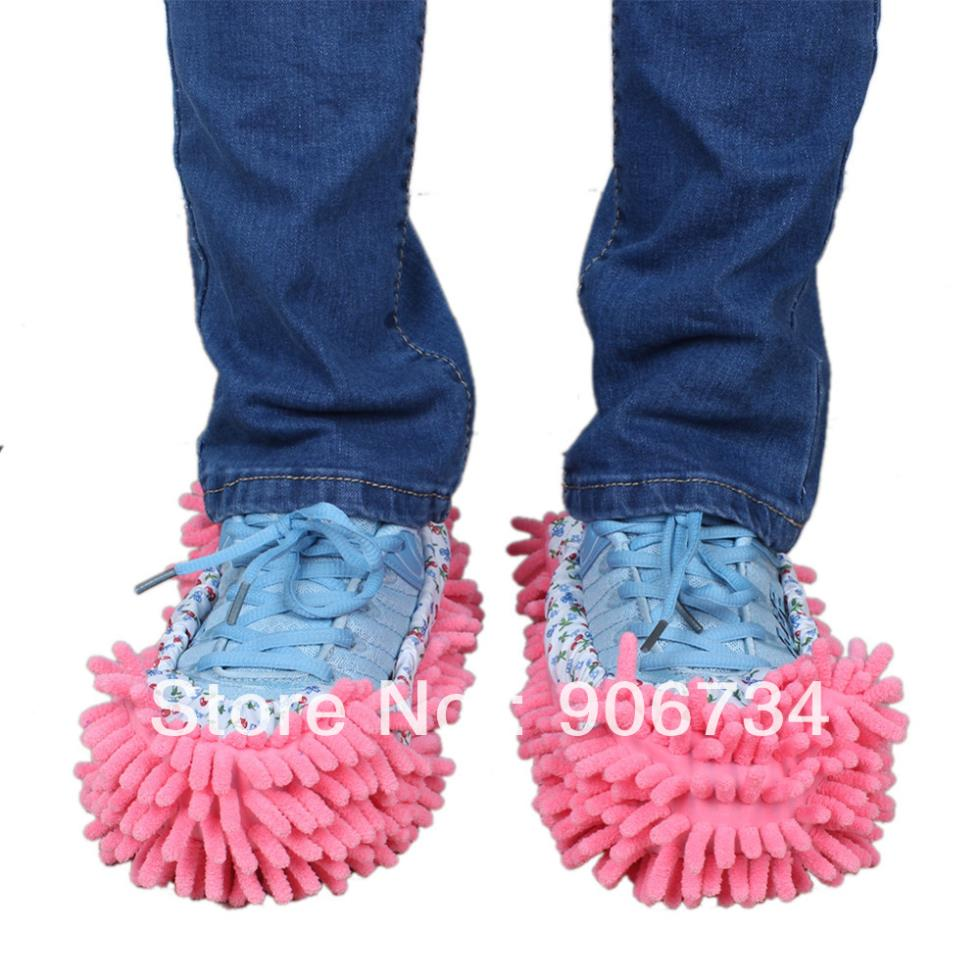 Pink Mop Slippers Floor Polishing Cover Cleaner Dusting Cleaning Foot Shoes Free Shipping(China (Mainland))