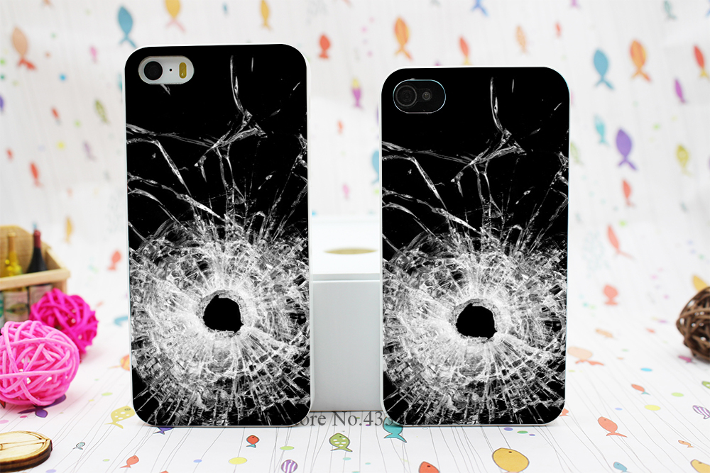 bullet hole glass Style Hard White Skin Case Cover for iPhone 5 5s 5g(China (Mainland))