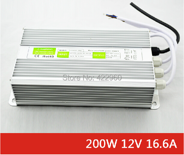 12V 16.6A waterproof IP 67 LED transformers, 200W outdoor professional aluminum shell LED adapter, 100-240V AC voltage changer(China (Mainland))