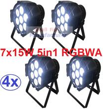 4xLot Free Shipping 7x15W RGBAW 5IN1 Mini LED Par DMX Light 7x 15-watt High Power 5-in-1 RGBWA Par LED DJ Disco DMX Stage Lights(China (Mainland))