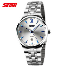 Free shipping SKMEI9071 new fashion real calendar quartz movement, business watches, men all steel sheet, high taste