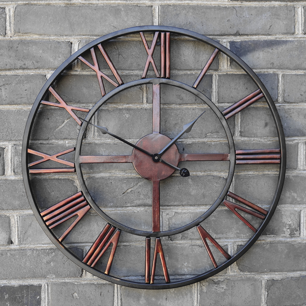 Buy 2016 oversized vintage wrought iron wall clock large retro clocks big 3d - Pendule decorative murale ...