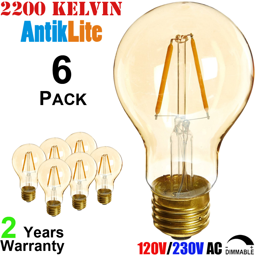 E26/E27 Lamp Based Standard Pear Shape A60 Amber Glass Tungsten Filament Incandescent Style 4W Dimmable LED Antique Light Bulb(China (Mainland))