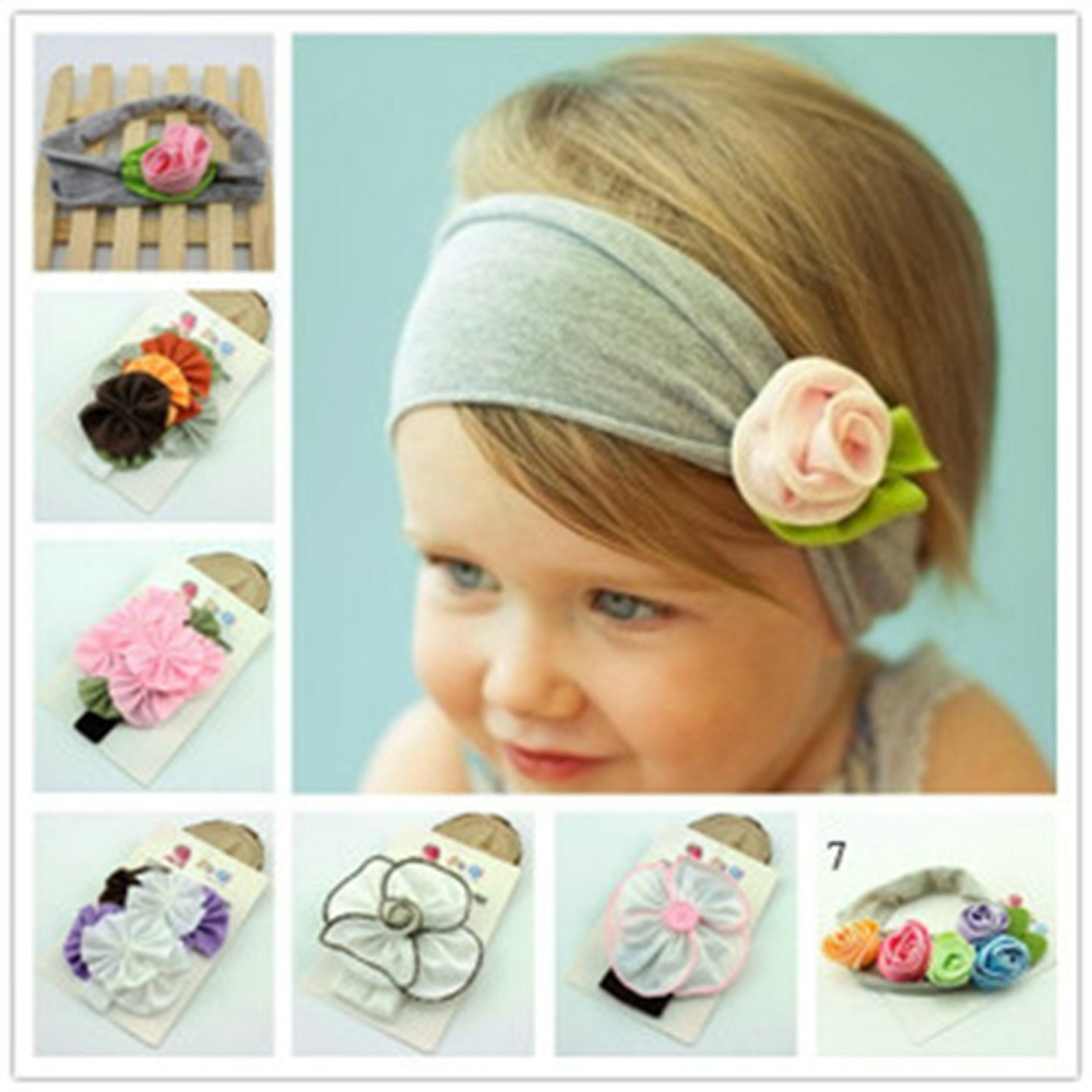 2015 New Popular Style 6 Colors Cotton Stretch Baby Headband Flower Hair Bands Bay Girl Hair Accessories(China (Mainland))