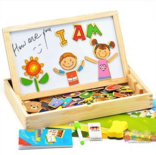 Figures scenes magnetic three dimensional puzzle of wooden toy double sided drawing board child variety WordPad Blackboard(China (Mainland))