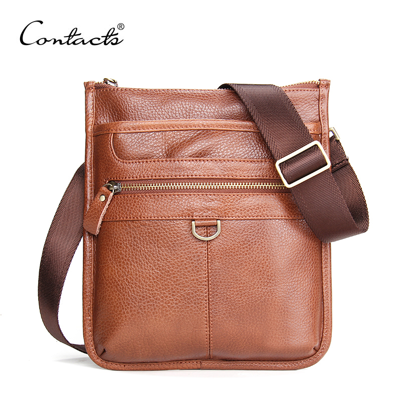 2016 New Genuine Leather Men Bag Fashion Men Messenger Bags Vintage Brand Design Brown Men's Business Briefcase Shoulder Bag(China (Mainland))