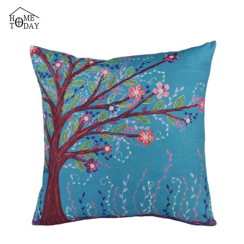 Throw Pillow On Chair : 45*45cm Spring Flower Tree PrintedCushion Cover Car Covers Chair Pillow Cases Throw Pillows ...