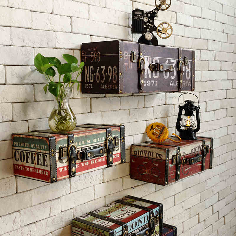 Vintage pu luggage leather suitcase painting ktv bar for Decoration murale industrielle