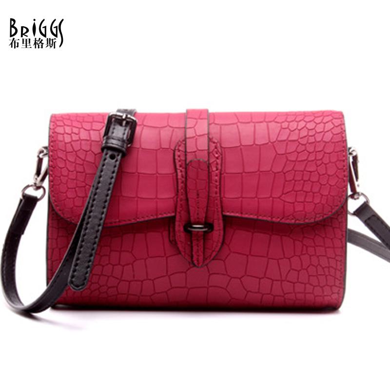 BRIGGS Vintage Stone Genuine Leather Bag Designer Brand Handbags High Quality Shoulder Messenger Bag Crossbody Bags For Women(China (Mainland))