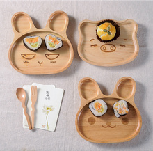 custom Japan baby kids dish cartoon shaped rabbit animal wooden plate manufacturers wooden healthy dinner plate salver for sales