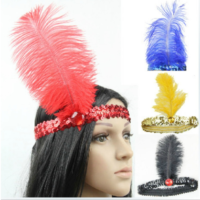 Feather Headband 1920\'s Funny Flapper Sequin Headpiece Costume Head Band Party Favor(China (Mainland))