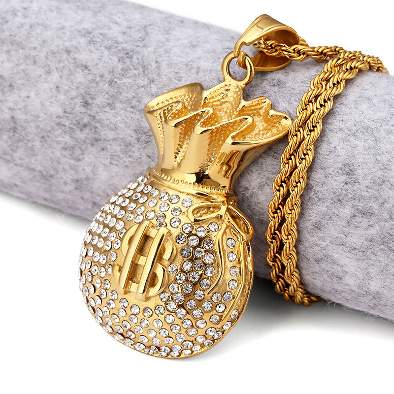 Gold Plated Purse Pendant Necklace Crystal Rhinstone Dollar Sign Cool Fashion Money Bag Shape Hip Hop Men Jewelry For Gifts(China (Mainland))